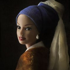 Art of Barbie Exhibition poster, 1999 Want to feel old? Try contemplating this. Barbie is fifty-four. Barbie who? Barbie Mattel of . Bad Barbie, Barbie And Ken, Girl With Pearl Earring, Pearl Earing, Pearl Jewelry, Jace, Mona Lisa, Johannes Vermeer, Pop Art