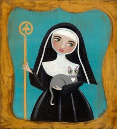 Saint Gertrude of Nivelles and Cat Original Folk by KilkennycatArt (Ryan Conners)
