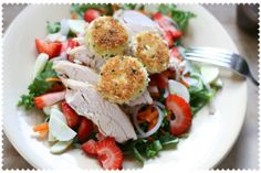 Fresh Greens with Chicken and Fried Goat Cheese by lesley zellers, via Flickr