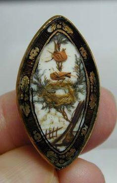 mourning brooch; the empty nest suggests a baby or little child has died.