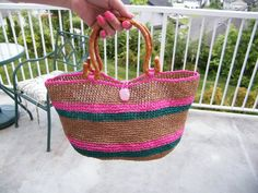Raffia bag Handbag made from Raffia Yarn. por KoyaKreations en Etsy