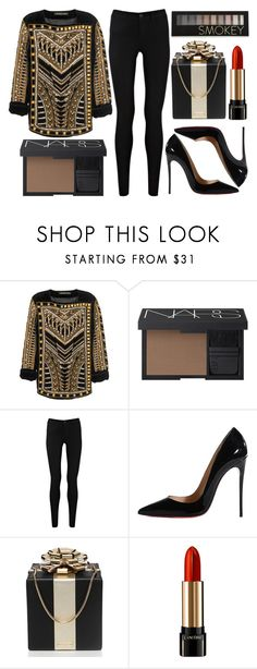 """""""street style"""" by sisaez ❤ liked on Polyvore featuring NARS Cosmetics, Oasis, Christian Louboutin, Kate Spade, Lancôme and Forever 21"""