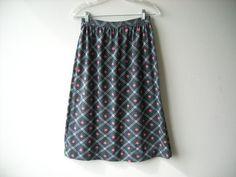 Vintage Grey Skirt Pink Flowers by Baxtervintage on Etsy, $28.00