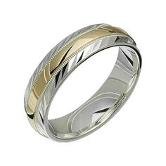 Alain Raphael 2 Tone Sterling Silver and 10k Yellow Gold 6 Millimeters Wide Wedding Band Ring *** More details @