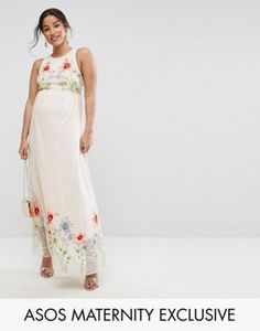 ASOS Maternity Embroidery Mesh Maxi Dress