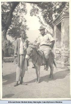 1920, Paul Stevenson on donkey led by Chinese boy. Courtesy: Bernard Becker Medical Library, St. Louis, MO (USA).