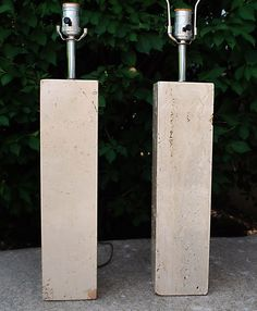 2 Mid-Century Modern Robsjohn Gibbings Monumental Travertine Marble Table Lamps  #MonumentalMidCenturyModernMinimalist