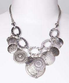 Look at this #zulilyfind! Silver Disk Bib Necklace by Fantasy World Jewelry #zulilyfinds