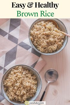 How to cook delicious and healthy brown rice: perfect and fluffy every single time. Learn how to make the most delicious wholegrain rice for lunch and dinner. #lunch #dinner #rice #dish Delicious Vegan Recipes, Yummy Food, Tasty, Vegan Snacks, Vegan Food, Perfect Brown Rice, Brown Rice Recipes, Vegan Dishes, Plant Based Recipes