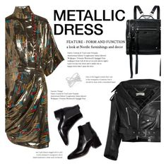 """How to Style a Gold Metallic Dress with a Leather Jacket"" by outfitsfortravel ❤ liked on Polyvore featuring McQ by Alexander McQueen, J.W. Anderson, Balenciaga and Effy Jewelry"