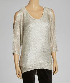 Look what I found on #zulily! Sand Sparkle Cutout Sweater by eci New York #zulilyfinds