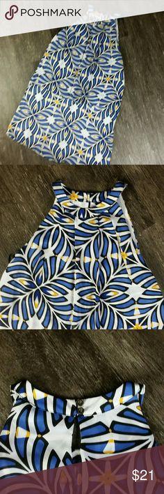 Worthington Halter Dress E25 Worthington Blue & Yellow Geo Design Halter Knee Length Layered Cute Dress 6 Keyhole Back  38 INCH TOTAL LENGTH FROM TOP OF SHOULDER TO BOTTOM OF DRESS 26 INCH LENGTH MEASURING SIDE SEAM FROM UNDERARM TO BOTTOM OF DRESS 30 INCH BUST Worthington Dresses
