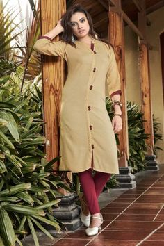 Exquisite Rayon Stylish Kurtis in Beige With Dupatta Stylish Kurtis, Eid Dresses, Casual Outfits, High Neck Dress, Beige, Shirt Dress, Shirts, Collection, Tops