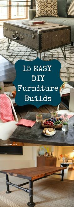 15 great projects for a weekend or an afternoon! There is something for everyone, end tables, headboards, console tables, even even an end table made form a stump!