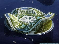 10 Amazing Floating Houses Around The Globe: Here's an even more impressive project. This is Lilypad, a dramatic floating structure designed by Vincent Callebaut. It can accommodate almost 50,000 people and has a very impressive look, mostly due to all the green features. Even though it's still just a concept, the designer hopes it will become reality by the turn of the century. It would truly be a luxurious retreat far from everything and everyone.{found on TrendHunter}.