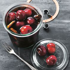 For your next happy hour, skip the olives that contain around 50 mg of sodium. Make these pickled cherries instead! Tangy balsamic vinegar mixed with the tartness of the fruit makes a great accompaniment to cocktails and pre-dinner cheese platters.