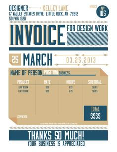 Do people even want to see their invoice like this? Let's be honest, people that have a lot of money might not be in a mega design appreciating generation.. New Invoice by Kelley Lane, via Behance