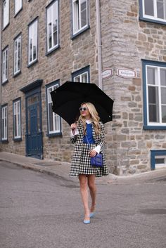 Black and white plaid jacket and skirt + blue sweater + white button down + light blue heels