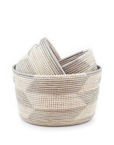 """- Description - Artisan - Hang Tag Sort and store with this trio of charming hand-woven baskets. * Small approximately 10"""" long, 9"""" wide, 7"""" tall * Medium approximately 14"""" long, 12"""" wide, 8"""" tall * L"""