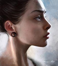 """Johanna"" - Isabella Morawetz {figurative art beautiful female head earring woman face portrait profile cropped digital painting #loveart} morawetzart.com"