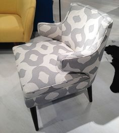 A new chair by Younger in a fun, graphic pattern.