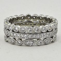 Luxe Antique Eternity Diamond Ring Stack, wonder if Pandora has this style!