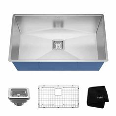 Buy the Kraus Stainless Steel Direct. Shop for the Kraus Stainless Steel Pax Single Basin 16 Gauge Stainless Steel Kitchen Sink for Undermount Installations with NoiseDefend Technology and Pax Zero-Radius Corners and save. Steel Kitchen Sink, Single Bowl Kitchen Sink, New Kitchen, Kitchen Sinks, Basement Kitchen, Kitchen Ideas, Deep Sink, Square Sink, Basin Design
