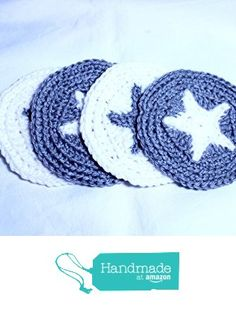 Star Coasters, Silver and White Star Mug Rugs, Crocheted Coasters, Handmade Pentacle Coasters, Furniture Protectors, Handmade Star Coasters Set of 4 from Wyvern Designs https://www.amazon.com/dp/B01HVDJZXQ/ref=hnd_sw_r_pi_dp_6I9DxbDQEZG45 #handmadeatamazon