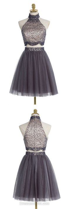 Grey Prom Dress, High Neck Prom Dresses, Two Piece Homecoming Dress, Tulle Homecoming Dresses, Short Cocktail Dresses