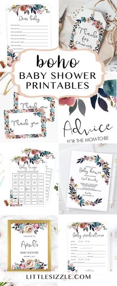 Boho baby shower ideas by LittleSizzle. Printable bohemian themed baby shower games, boho shower invitation templates and printable boho baby shower decor. Whether you are hosting an outdoor boho baby shower, or transforming your home into a bohemian paradise, these floral boho inspired baby shower printables with purple watercolor flowers will really set the tone! #babyshowerthemes #babyshowerideas #DIY #printables #bohemian #boho #babyshowergames #invitationtemplates #babyshowerdecor