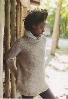 Driftwood from Brooklyn Tweed: This loose and easy pullover features a drop shoulder, a cozy turtleneck and a beautiful all-over texture. You will need 11 (12, 14, 15, 16, 17) skeins of Brooklyn Tweed Shelter, a 32 or 40-inch and a 16-inch circular needle in US #10 (or size to obtain gauge). Gauge is 18 stitches and 36 rows = 4 inches in loop pattern stitch. Shown here in the color Woodsmoke. $9.25