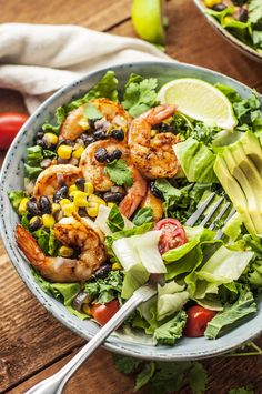 Spice up your summer salads with this Spicy Black Bean & Shrimp Salad recipe. Bold spices and fresh ingredients make this salad pop with southwestern flair. Spicy Shrimp Salad, Shrimp Salad Recipes, Salad Recipes For Dinner, Healthy Salad Recipes, Seafood Recipes, Chickpea Recipes, Shrimp Pasta, Detox Recipes, Clean Eating