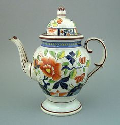 GAUDY DUTCH COFFEE POT. Single Rose design in brig ht colors with blue bands. Spout and handle have molded acanthus leaves.