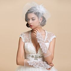 Delicate Net Fingerless Elbow Length Wedding Gloves With Lace (More Colors) – USD $ 3.99