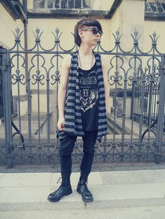 Offbrand Black Sun Glasses, Thrift Store Striped Vest, New Yorker Tank Top, C&A Necklace With Cross, Denim Co Black Jeans, Pure Trash Boots