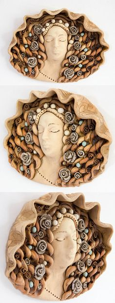 Wall decor - ceramic woman head sculpture. Unique home decor element. This woman face sculpture could perfectly fit on the wall in the kitchen, dining room or Living room. I made this 3D wall art sculpture from yellow clay (base) and decorated with my own manufactured decorations (roses, flowers, pearls and others). Wall sculpture is not under glaze, there is some glaze, but I use it just to highlight the features of the product.  Dimensions: Weight ~ 3 lb 8 oz. or ~ 1,6 kg Size: ~ 11 1/...