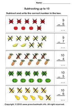 kindergarten math worksheets | Free Preschool Subtraction Math Worksheets