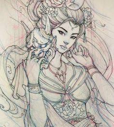 Tattoo inspiration of geisha with hannya mask - Tattoo Geisha Tattoos, Irezumi Tattoos, Geisha Tattoo Design, Tattoo Design Drawings, Sketch Tattoo, Samurai Drawing, Samurai Tattoo, Samurai Art, Japanese Drawings