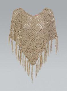 Brown Sweater - Crochet Tassel Poncho by AbbyM12