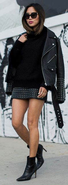 Aimee Song + rocks leather + studs + sleek black turtleneck + pink lip + perfect pop + girlish cool.  Sweater And Skirt Outfits:  Jacket and Skirt: McQ Alexander McQueen, Sweater: Revolve, Boots: Via Spiga, Sunglasses: Jimmy Choo