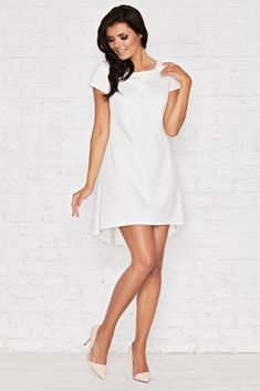 Rochii albe ieftine PrettyModa.ro! Short Sleeve Dresses, Dresses With Sleeves, Smart Casual, Fashion Brands, Cold Shoulder Dress, White Dress, Lady, Shirts, Fashion Design