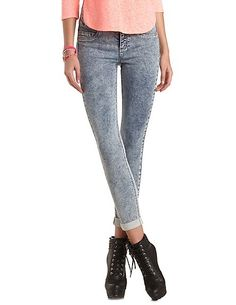 High-Waisted Acid Wash Skinny Jeans: Charlotte Russe