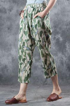 Green Print Loose Linen Pants Women Casual Cropped Trousers J6081 Linen Pants Women, Linen Trousers, Cropped Trousers, Pants For Women, Modern Outfits, Cool Outfits, Best Work Pants, Salwar Pants, Kurta Neck Design