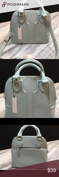 """NWT! Sole Society Marcy Handbag 👜 ⭐️ Brand NEW!! ⭐️ Never used Sole Society Marcy Handbag. GORGEOUS light mint color, makes a wonderful winter and spring neutral! Measures 12.5""""x10.5""""x4.5"""". Can wear as a Satchel or with crossbody strap; so versatile!! Made of luxury vegan materials(leather). AMAZING!! From clean and smoke free home.  *cross posted* Sole Society Bags"""
