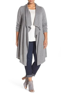 Melissa McCarthy Seven7 Basic Flyaway Cardigan (Plus Size)