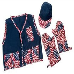 Medium BBQ Vest, Hat and Mitt Set - Flag Theme  Descriptions: Barbeque Vest w/Pockets to hold sauces, drinks, seasonings/Hat/Mitt Set   Features: Tan Vest w/Flag Theme Trim/Pockets/Mitt/Tan Hat w/Flag Theme Bill Easy snap Vest/Quilted Mitt-Polyester/Washable Hat protects from sun while barbequing Made in USA 1 Year against Factory Defects