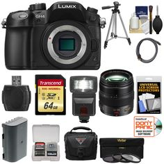 Panasonic Lumix DMC-GH4 4K Micro Four Thirds Digital Camera Body with 12-35mm f/2.8 Lens + 64GB Card + Battery + Case + Tripod + Flash + Filters Kit. KIT INCLUDES 14 PRODUCTS -- All BRAND NEW Items with all Manufacturer-supplied Accessories + Full USA Warranties:. [1] Panasonic Lumix DMC-GH4 4K Micro Four Thirds Digital Camera Body + [2] Panasonic 12-35mm f/2.8 Lens + [3] Transcend 64GB SDXC UHS-3 Card +. [4] Spare DMW-BLF19E Battery + [5] PD PD-C25 Case with Rain Cover + [6] Precision...