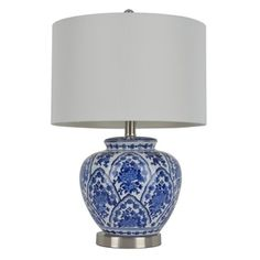 20-inch Blue and White Ceramic Table Lamp - Free Shipping Today - Overstock.com - 17197470 - Mobile