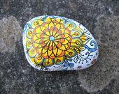 Small Hand Painted Hand Drawn Stone, Pretty Floral Zen Pattern, Orange Yellow Blue Original Art Work- Rock Art - Painted Stone - Hand Drawn