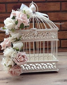 VINTAGE SHABBY CHIC DUSKY PINK IVORY ROSES BIRD CAGE WEDDING CENTREPIECE FLOWERS in Home, Furniture & DIY, Wedding Supplies, Flowers, Petals & Garlands | eBay